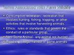 terms associated with farm wildlife