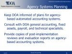 agency systems planning