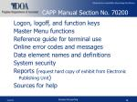 capp manual section no 70200