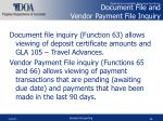 document file and vendor payment file inquiry