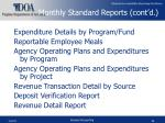 monthly standard reports cont d