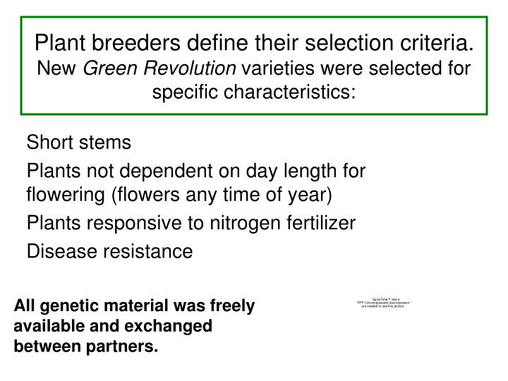 Plant breeders define their selection criteria.
