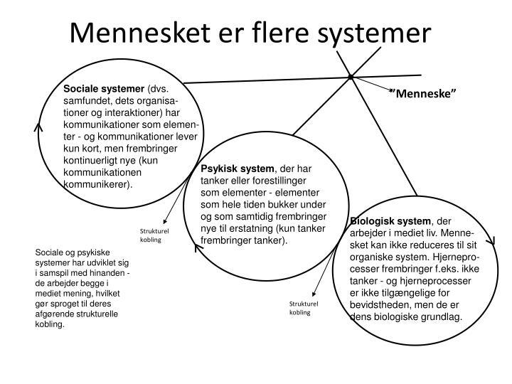 Mennesket er flere systemer