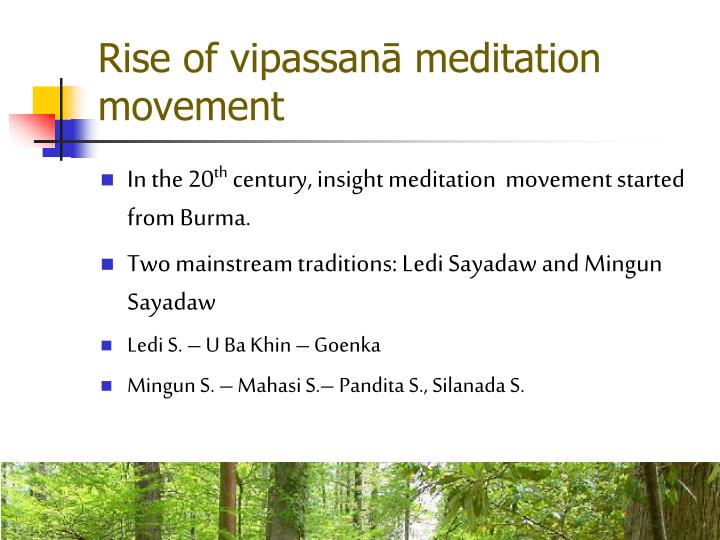 Rise of vipassanā meditation movement