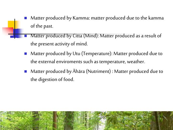 Matter produced by Kamma: matter produced due to the kamma of the past.
