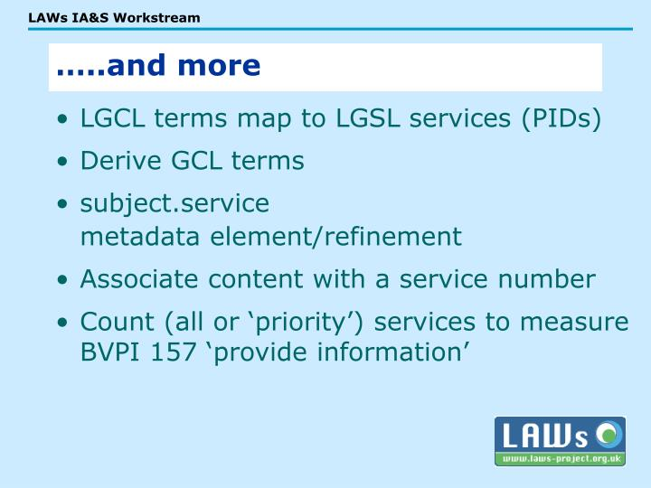LGCL terms map to LGSL services (PIDs)