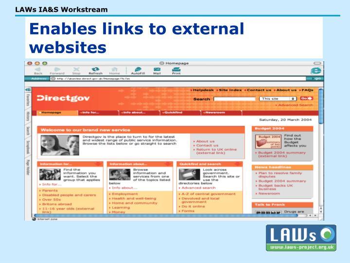 Enables links to external websites