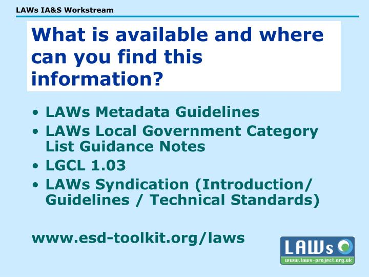 LAWs Metadata Guidelines