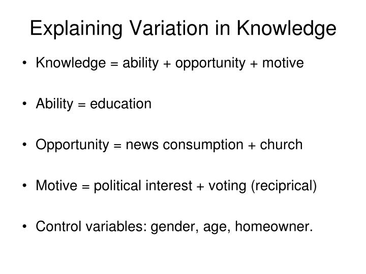 Explaining Variation in Knowledge