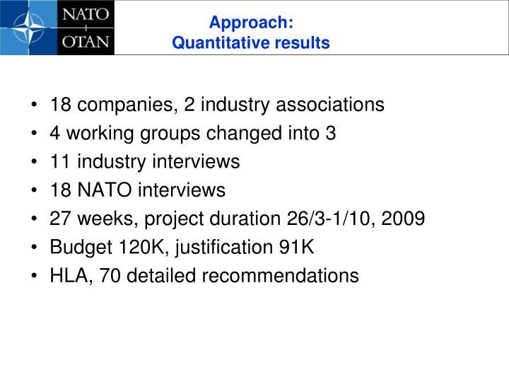 Approach quantitative results