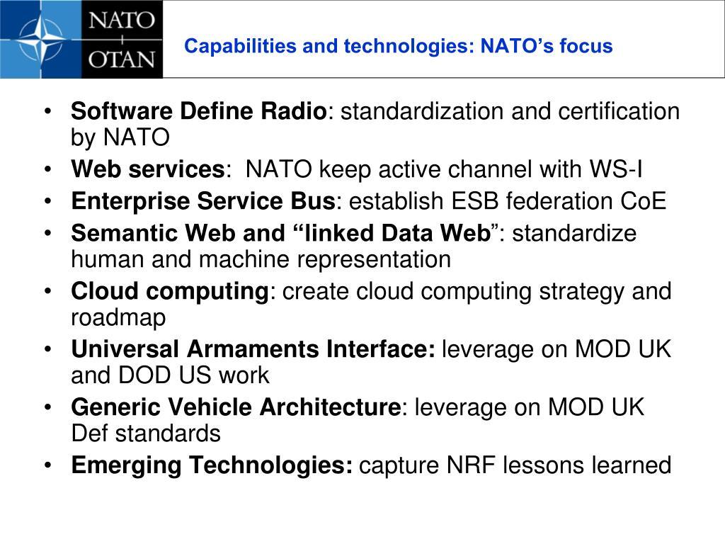 Capabilities and technologies: NATO's focus