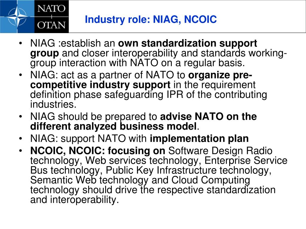 Industry role: NIAG, NCOIC
