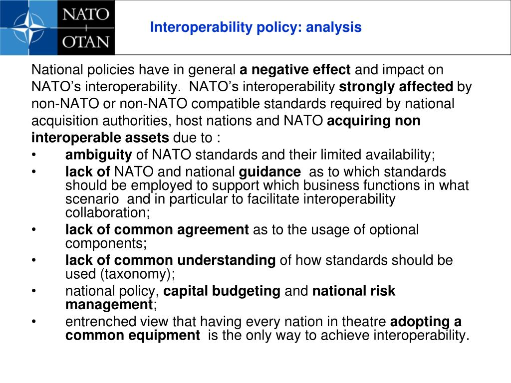 Interoperability policy: analysis