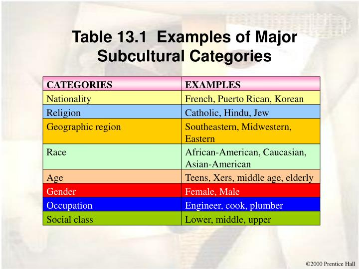 Table 13.1  Examples of Major Subcultural Categories