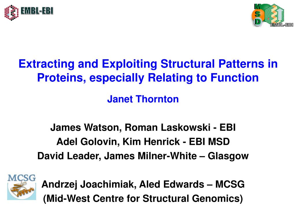 extracting and exploiting structural patterns in proteins especially relating to function l.