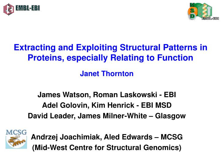 Extracting and exploiting structural patterns in proteins especially relating to function