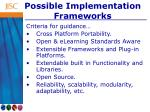 possible implementation frameworks