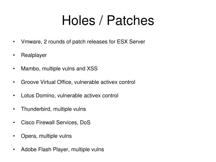 Holes patches