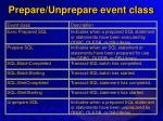 prepare unprepare event class