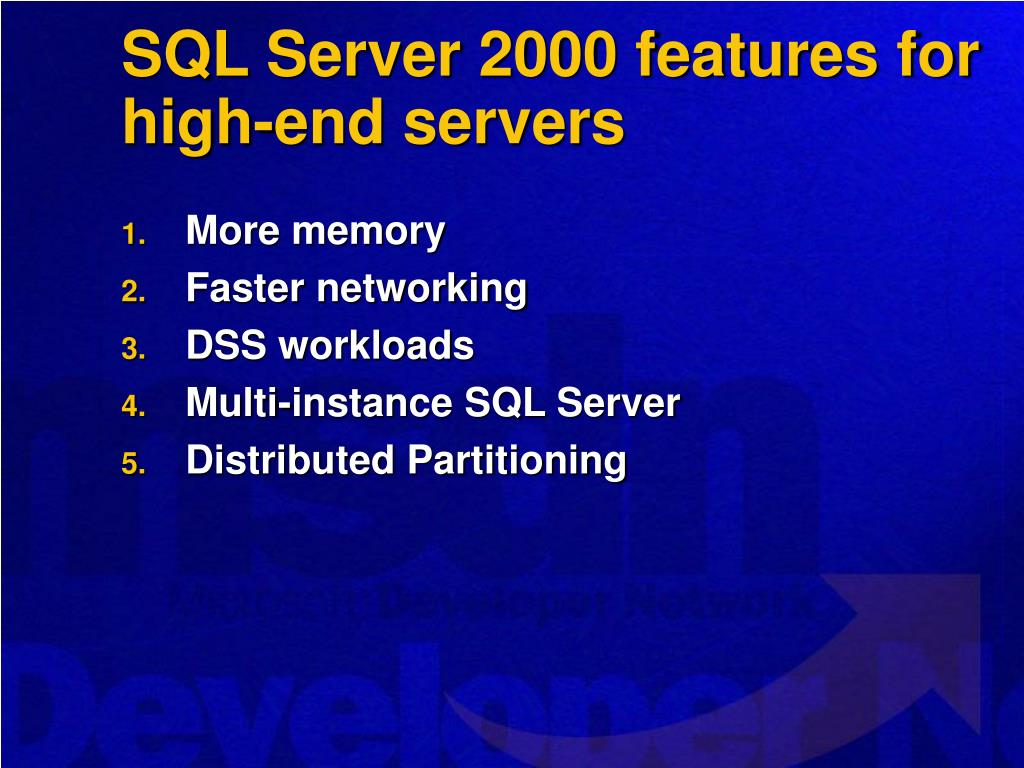 SQL Server 2000 features for high-end servers