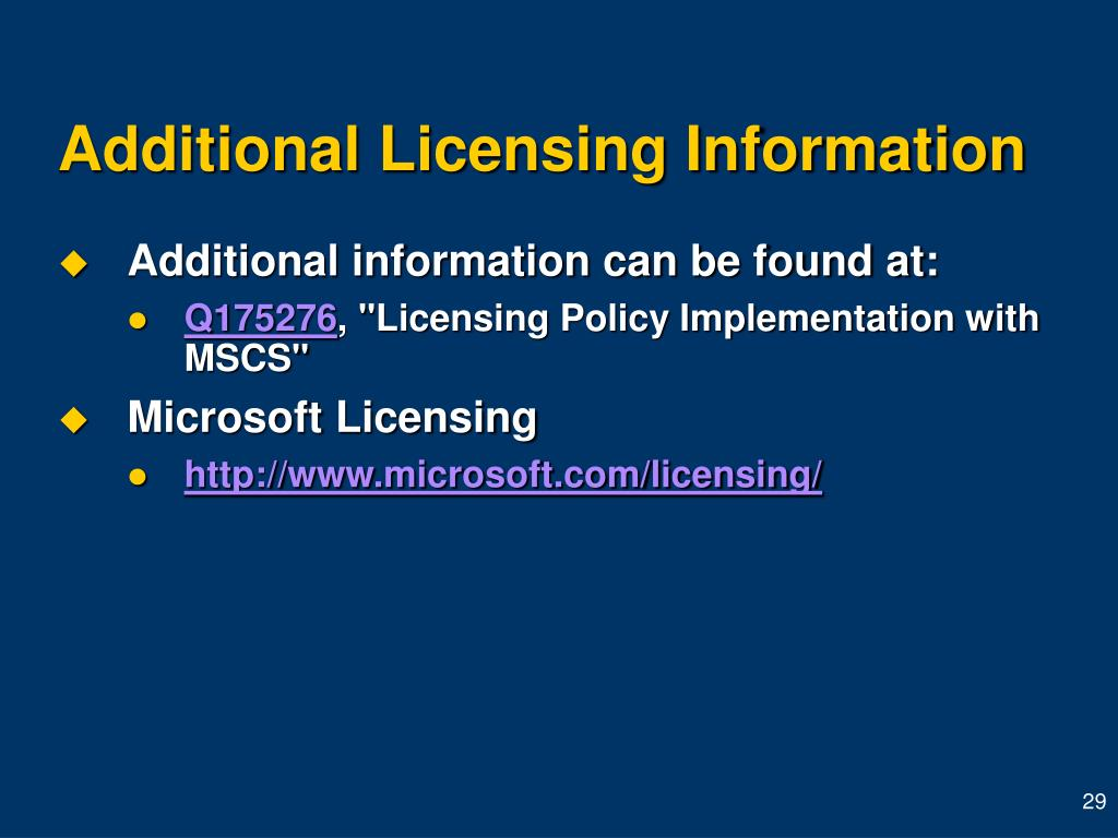 Additional Licensing Information