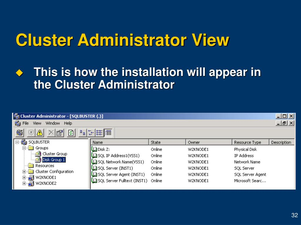 Cluster Administrator View