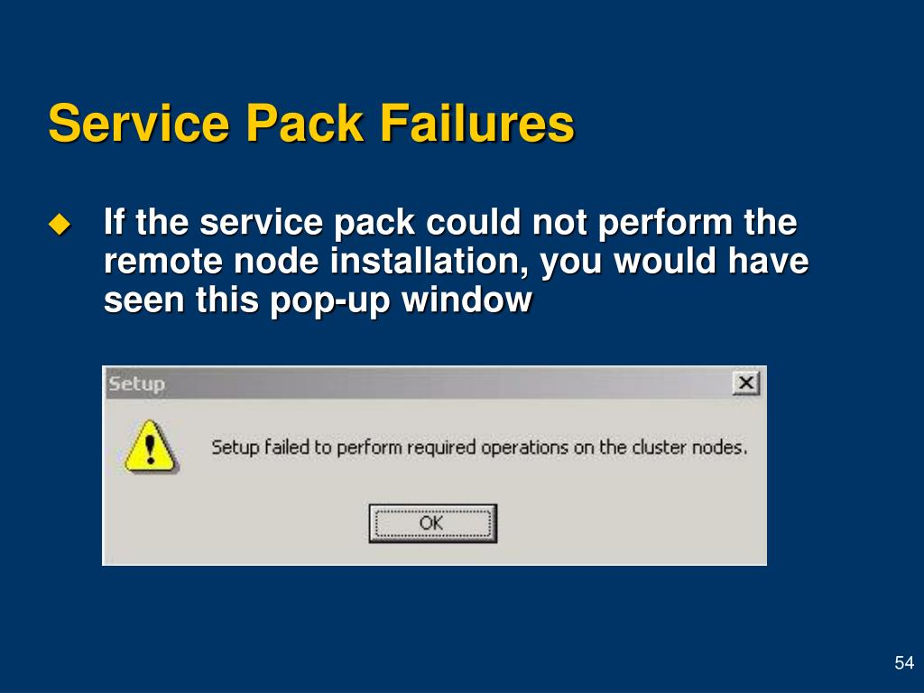 Service Pack Failures
