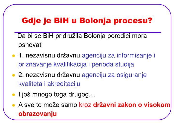 Gdje je BiH u Bolonja procesu?