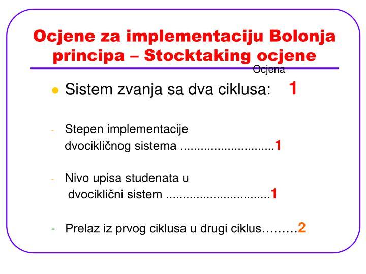 Ocjene za implementaciju Bolonja principa – Stocktaking ocjene