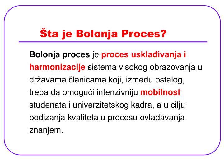 Šta je Bolonja Proces?