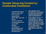 sample setup log created by unattended installation