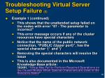 troubleshooting virtual server setup failure 5