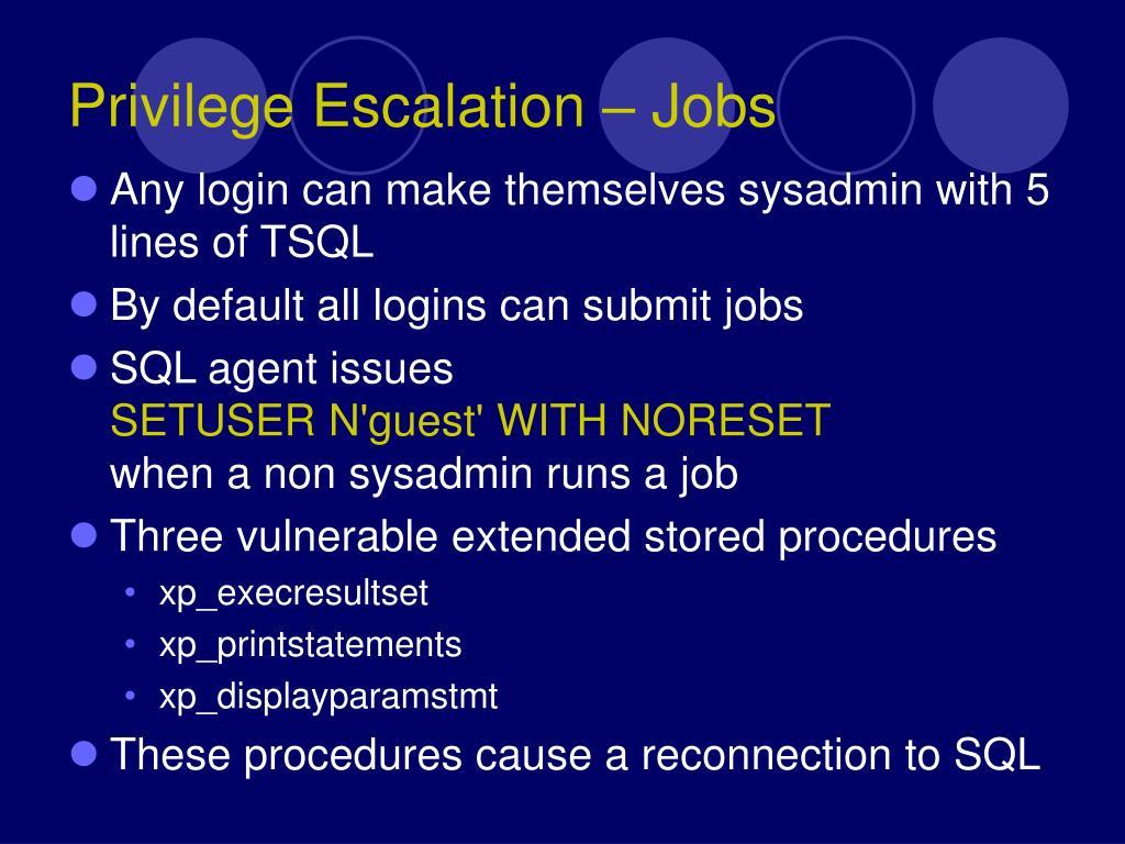 Privilege Escalation – Jobs