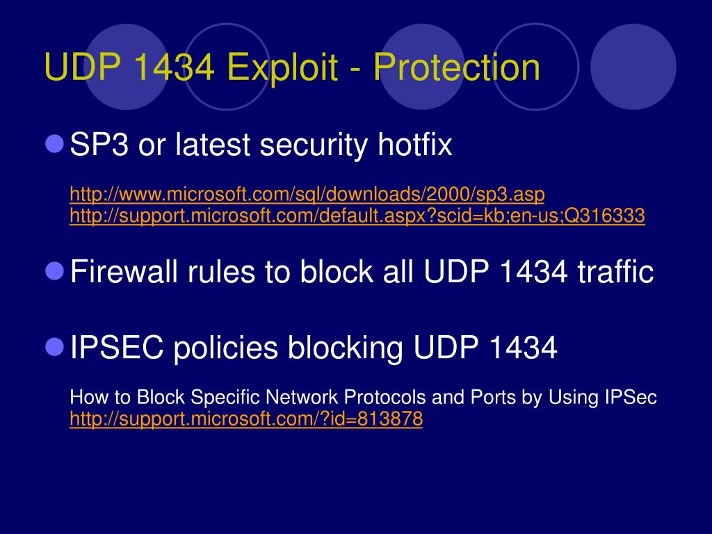 UDP 1434 Exploit - Protection