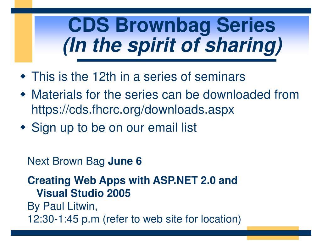 CDS Brownbag Series