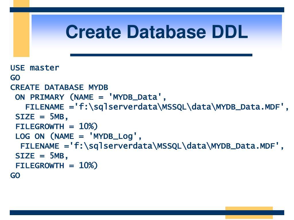 Create Database DDL