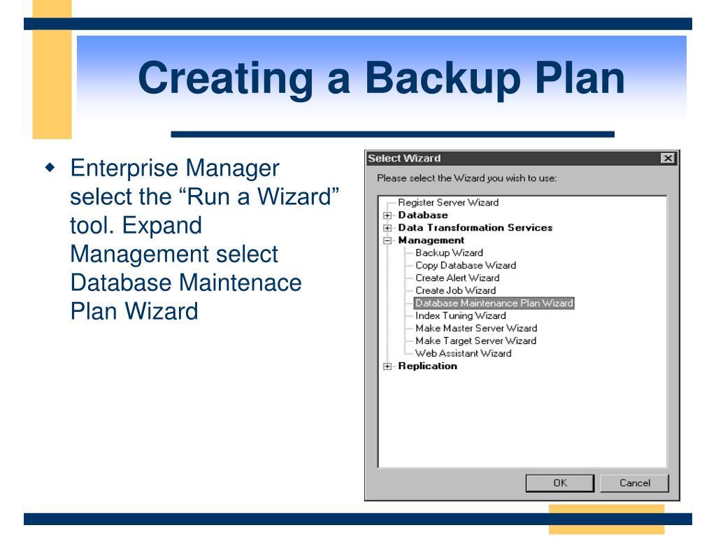 Creating a Backup Plan