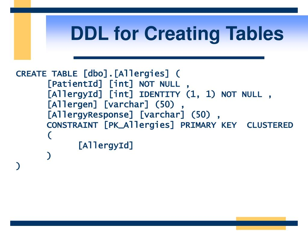 DDL for Creating Tables