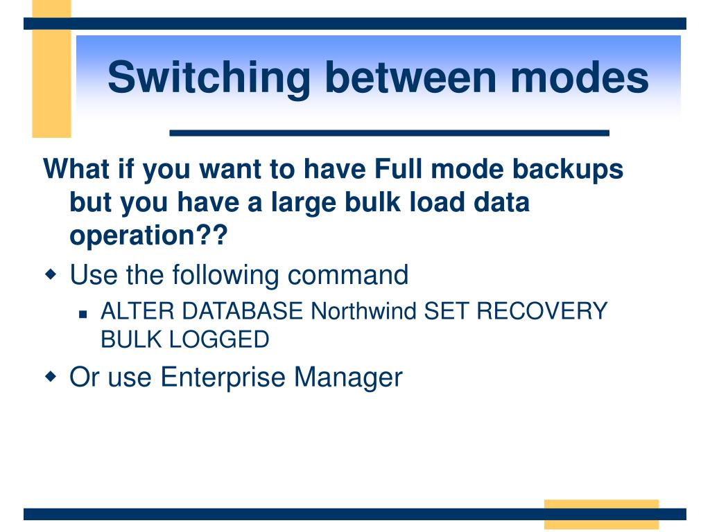 Switching between modes
