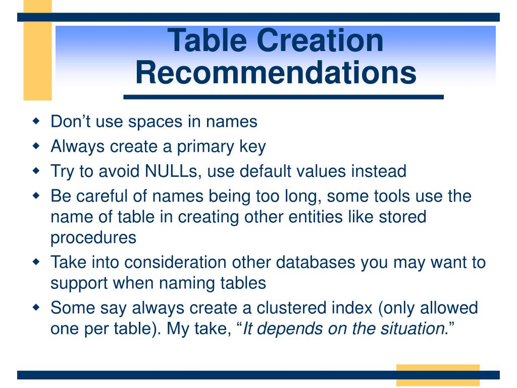 Table Creation Recommendations