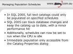 managing population schedules