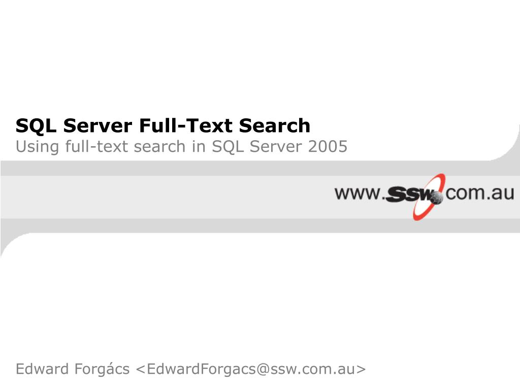 sql server full text search using full text search in sql server 2005 l.