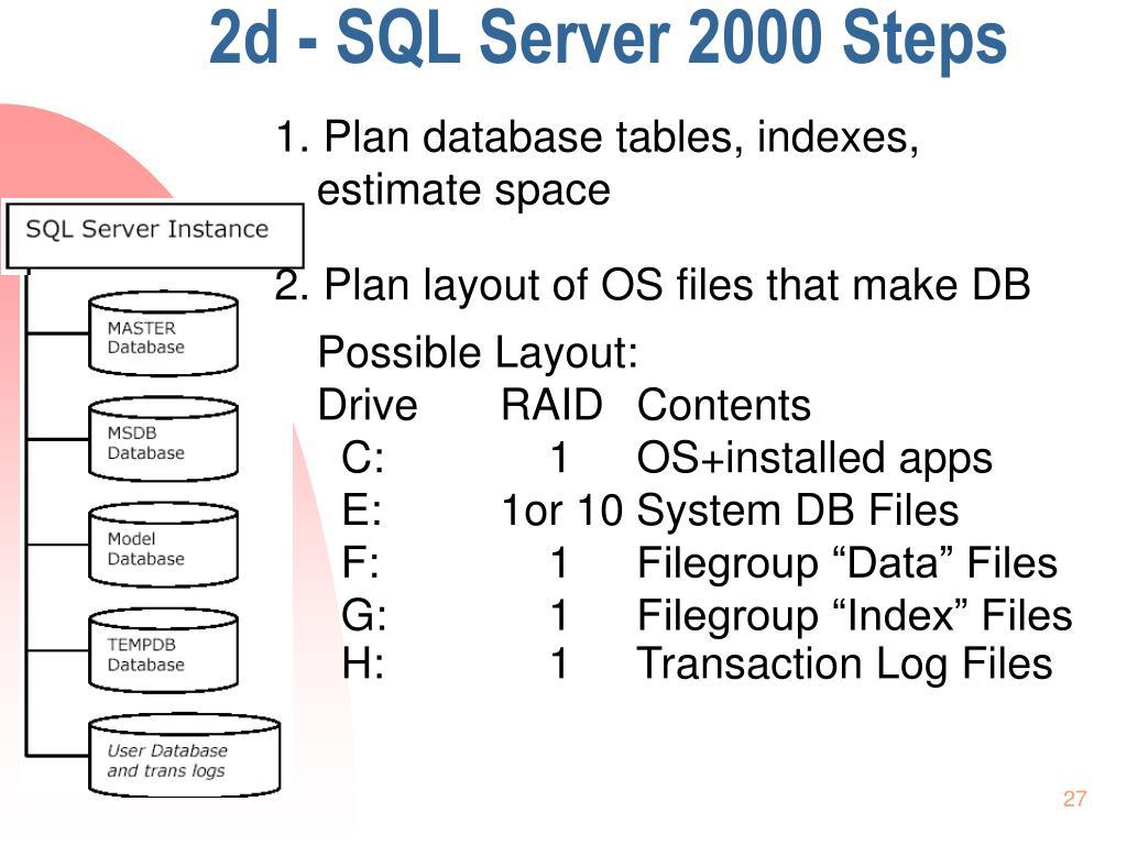 2d - SQL Server 2000 Steps