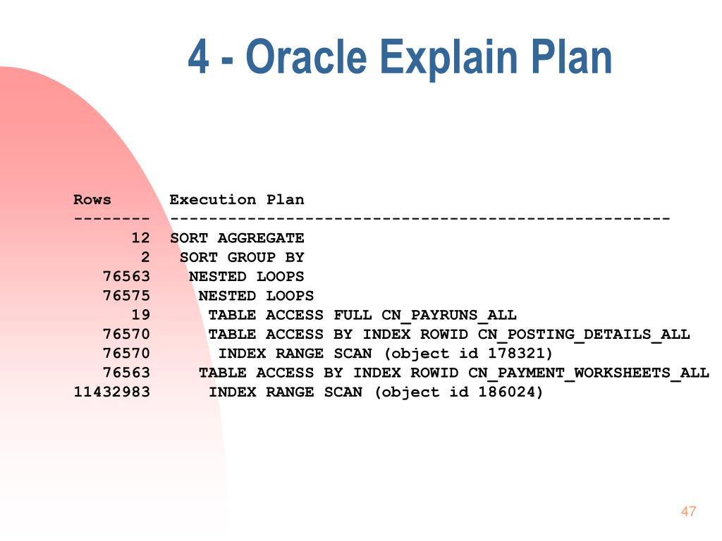 4 - Oracle Explain Plan