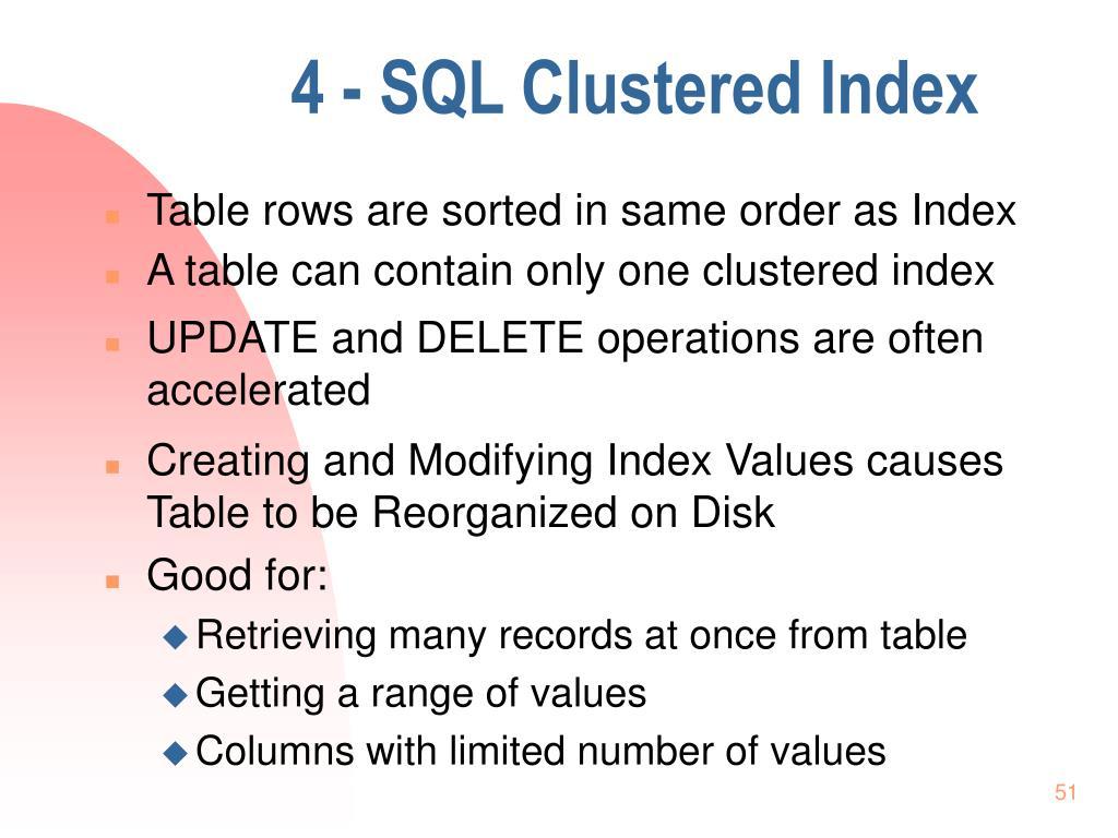 4 - SQL Clustered Index