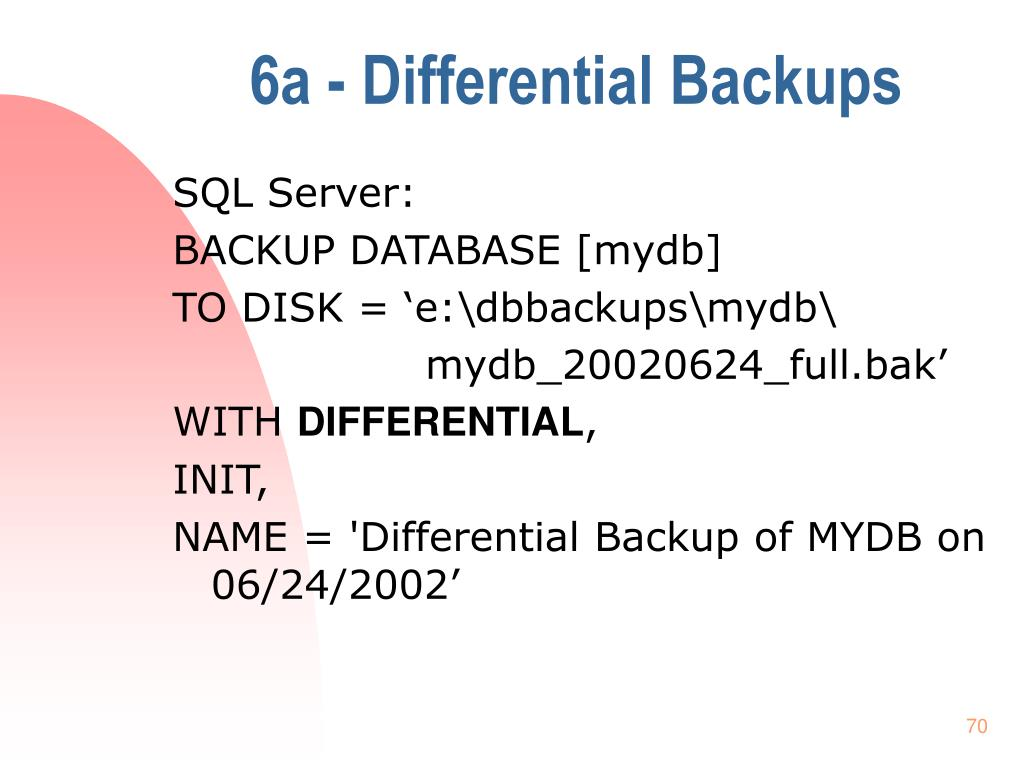 6a - Differential Backups