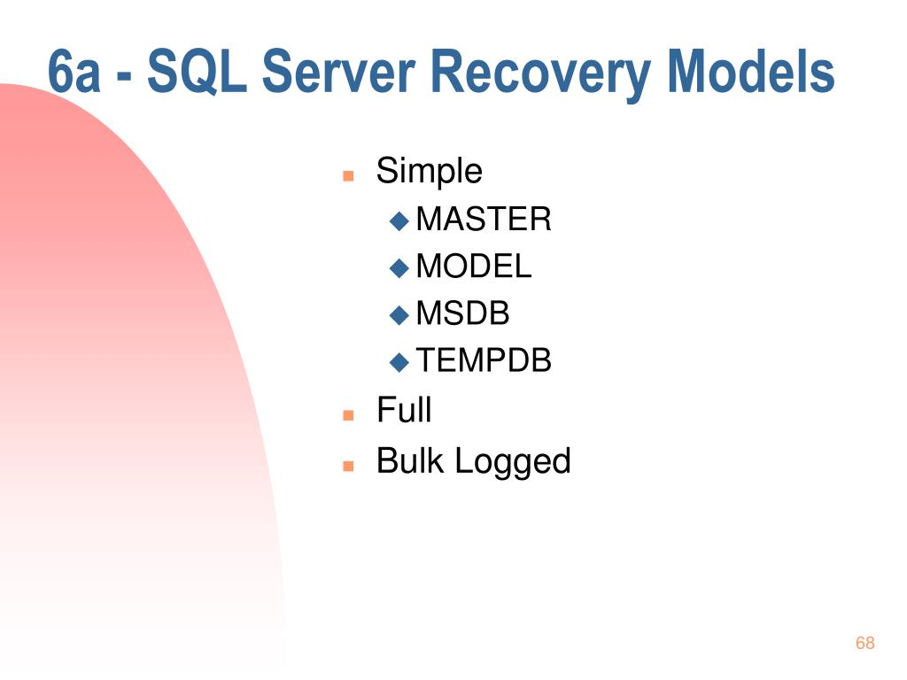 6a - SQL Server Recovery Models