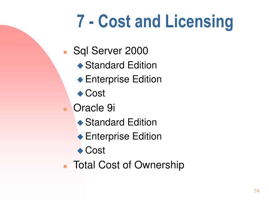 7 - Cost and Licensing