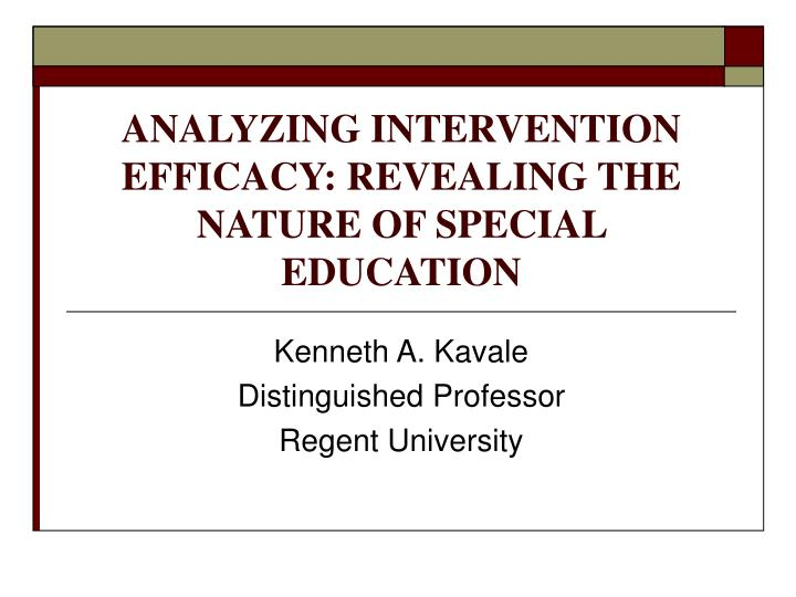 analyzing intervention efficacy revealing the nature of special education n.