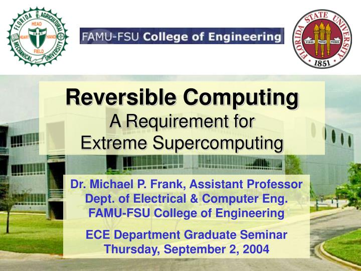 reversible computing a requirement for extreme supercomputing n.